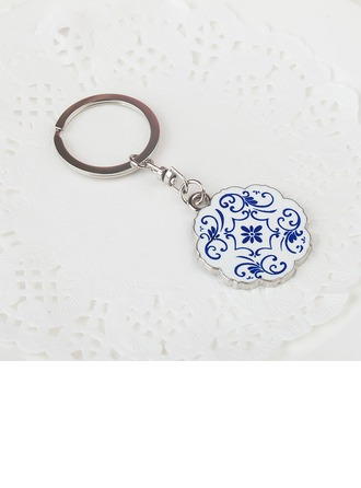 personnalisé Design de fleur Chromé Portes-clés