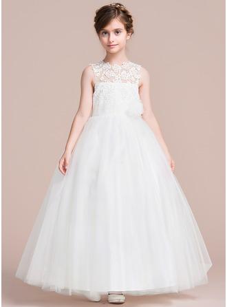 Ankle-length Flower Girl Dress - Satin/Tulle Sleeveless Scoop Neck With Appliques/Flower(s)