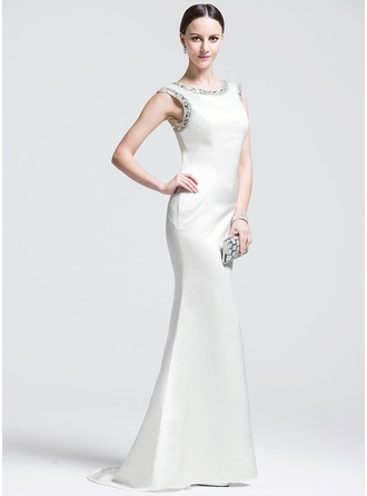 Trumpet/Mermaid Scoop Neck Sweep Train Satin Evening Dress With Beading Sequins