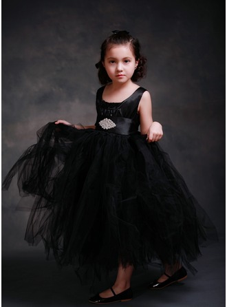 A-Line/Princess Ankle-length Flower Girl Dress - Tribute silk/CVC Sleeveless Scoop Neck With Sash/Beading