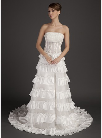 A-Line/Princess Strapless Chapel Train Taffeta Organza Prom Dress With Beading Split Front Cascading Ruffles