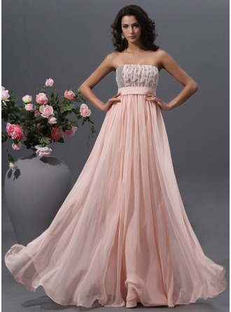 Empire Strapless Floor-Length Chiffon Prom Dress With Beading Sequins