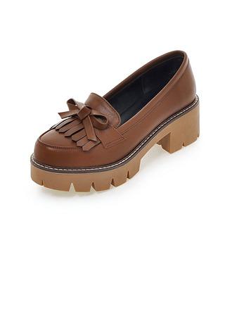 Femmes Similicuir Talon bottier Chaussures plates avec Tassel chaussures