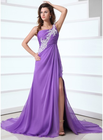 A-Line/Princess One-Shoulder Court Train Chiffon Holiday Dress With Ruffle Appliques Lace Split Front