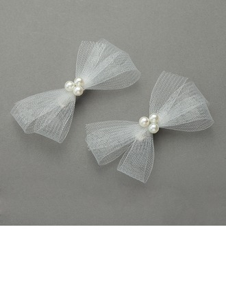 Lovely/Bowknot Imitation Pearls/Net Yarn Combs & Barrettes(Set of 2)