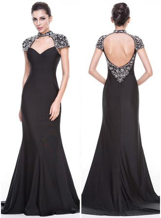 Trumpet/Mermaid Sweetheart Sweep Train Jersey Evening Dress With Lace Beading Sequins