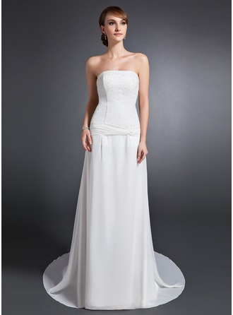 A-Line/Princess Strapless Court Train Chiffon Mother of the Bride Dress With Ruffle Beading