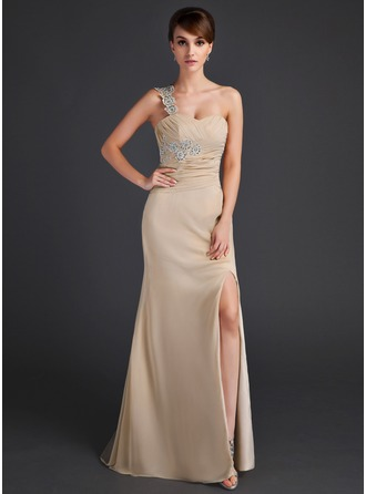 Empire One-Shoulder Sweep Train Chiffon Mother of the Bride Dress With Ruffle Lace Beading Sequins Split Front