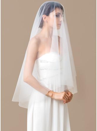 One-tier Waltz Bridal Veils With Cut Edge