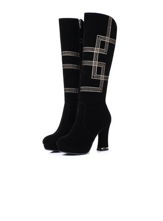 Femmes Suède Talon bottier Escarpins Bottes hautes avec Talon de bijoux Autres chaussures