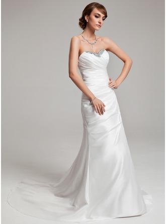 A-Line/Princess Sweetheart Court Train Taffeta Wedding Dress With Ruffle Beading Sequins