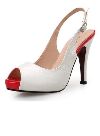Femmes Similicuir Talon stiletto Sandales Escarpins À bout ouvert Escarpins avec Boucle La copie Animale chaussures