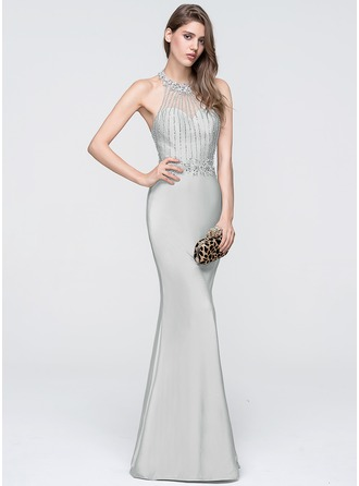 Sheath/Column Halter Floor-Length Jersey Prom Dress With Beading Sequins