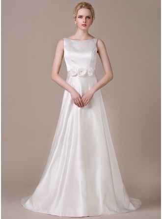 A-Line/Princess Scoop Neck Court Train Satin Tulle Wedding Dress With Beading Flower(s)