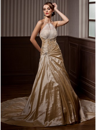 A-Line/Princess Halter Chapel Train Taffeta Wedding Dress With Ruffle Beading