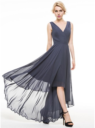 A-Line/Princess V-neck Asymmetrical Chiffon Evening Dress With Ruffle