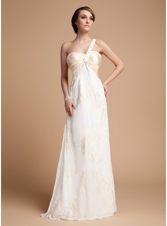 Empire One-Shoulder Floor-Length Chiffon Charmeuse Holiday Dress With Ruffle Lace Beading