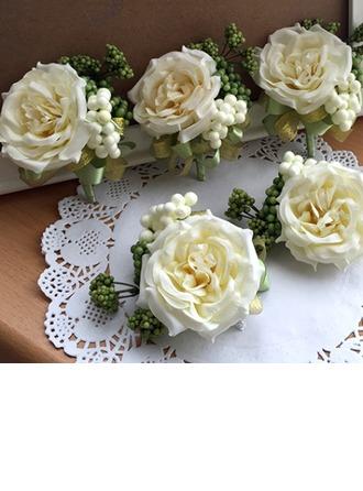 Charme Soie artificielle Sets de fleurs ( ensemble de 2) - Corsage du poignet/Boutonnière