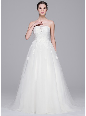 A-Line/Princess Sweetheart Sweep Train Tulle Lace Wedding Dress