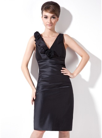 Sheath/Column V-neck Knee-Length Satin Cocktail Dress With Ruffle Flower(s)
