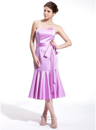 Trumpet/Mermaid Sweetheart Tea-Length Satin Bridesmaid Dress With Bow(s)