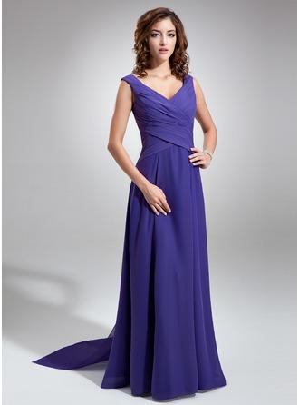 Chiffon V-neck Floor-length A-Line Bridesmaid Dress With Sash
