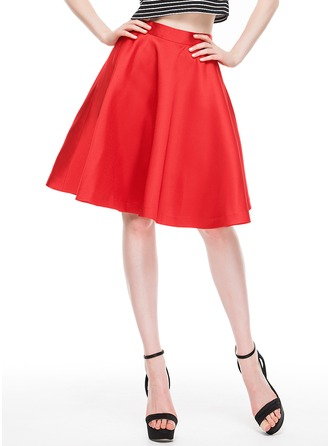 A-Line/Princess Knee-Length Satin Cocktail Skirt