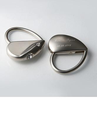 personnalisé En forme de coeur En alliage de zinc Portes-clés avec Strass diamant