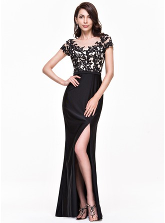 Trumpet/Mermaid Scoop Neck Floor-Length Jersey Evening Dress With Beading Appliques Lace Sequins Split Front
