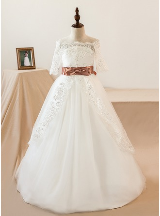 Ball Gown Watteau Train Flower Girl Dress - Tulle/Lace Short Sleeves Off-the-Shoulder With Sash/Bow(s) (Petticoat NOT included)