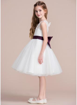A-Line/Princess Knee-length Flower Girl Dress - Tulle/Lace Sleeveless Jewel With Sash/Bow(s)/Back Hole