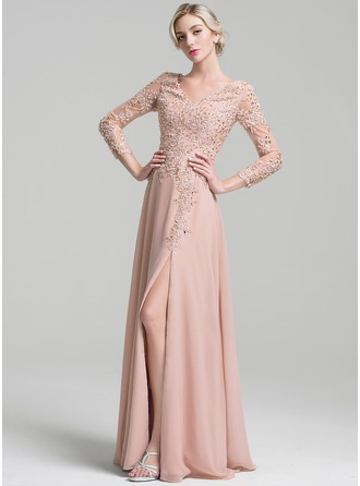 A-Line/Princess V-neck Floor-Length Chiffon Mother of the Bride Dress With Beading Split Front