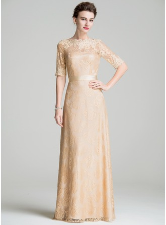 A-Line/Princess Scoop Neck Floor-Length Lace Mother of the Bride Dress