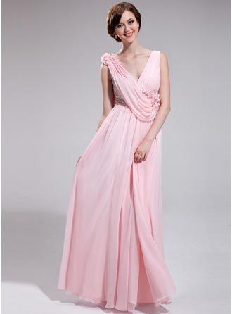 A-Line/Princess V-neck Floor-Length Chiffon Sequined Evening Dress With Ruffle Flower(s)