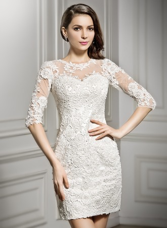 Sheath/Column Scoop Neck Short/Mini Tulle Lace Wedding Dress