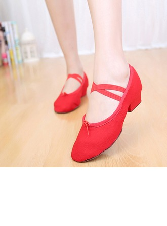 Femmes Toile Ballet avec Dentelle Chaussures de danse