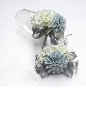 Magnifique Ruban/Soie artificielle Sets de fleurs ( ensemble de 2) - Corsage du poignet/Boutonnière