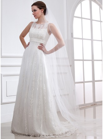 A-Line/Princess Scoop Neck Sweep Train Satin Tulle Wedding Dress With Lace Beading