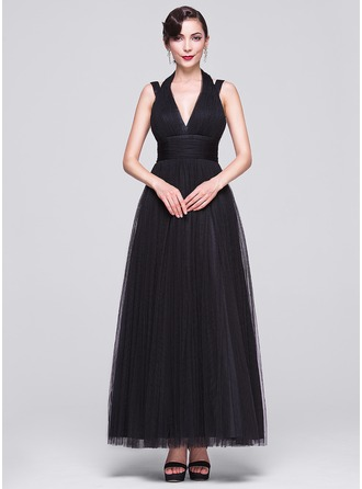 A-Line/Princess V-neck Ankle-Length Tulle Evening Dress With Ruffle