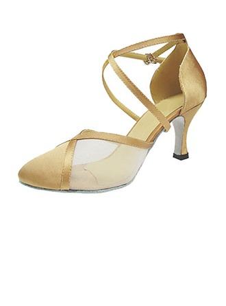 Femmes Satiné Talons Escarpins Moderne Salle de bal avec Lanière de cheville Chaussures de danse