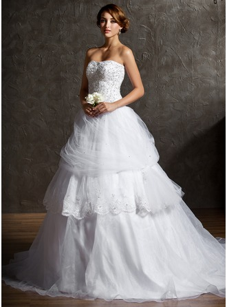 Ball-Gown Sweetheart Chapel Train Organza Satin Tulle Wedding Dress With Ruffle Lace Beading Sequins