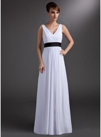 A-Linie/Princess-Linie V-Ausschnitt Bodenlang Chiffon Brautjungfernkleid mit Schleifenbänder/Stoffgürtel
