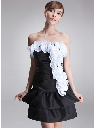 A-Line/Princess Strapless Short/Mini Taffeta Cocktail Dress With Ruffle Flower(s)