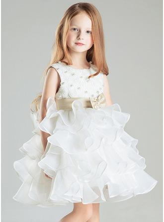Empire Satin/Cotton Girl Dress With Ruffle/Beading/Bow(s)