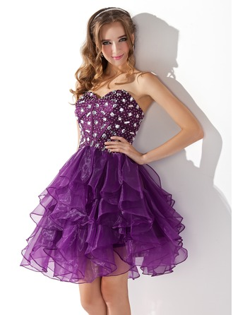 A-Line/Princess Sweetheart Knee-Length Organza Charmeuse Cocktail Dress With Beading Cascading Ruffles