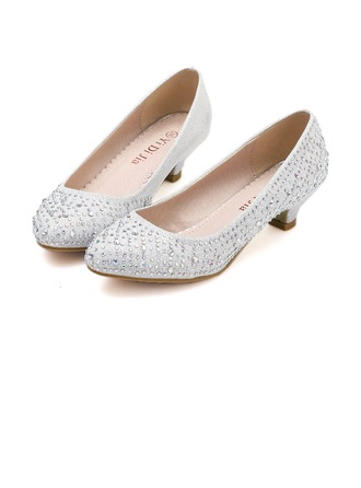 Women's Leatherette Low Heel Pumps With Rhinestone