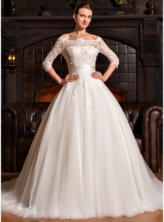Ball-Gown Off-the-Shoulder Court Train Tulle Charmeuse Lace Wedding Dress