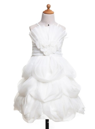A-Line/Princess Scalloped Neck Knee-Length Satin Flower Girl Dress With Flower(s) Bow(s)