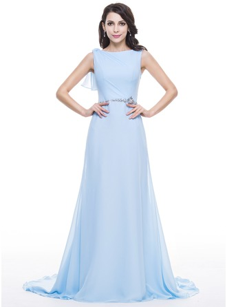 A-Line/Princess Scoop Neck Court Train Chiffon Lace Evening Dress With Beading Sequins Cascading Ruffles
