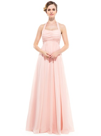 Empire Halter Floor-length Crinkle Chiffon Bridesmaid Dress